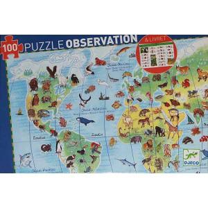 Puzzle Observación Animales del Mundo - 100 piezas