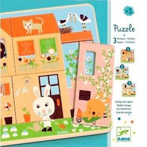 Puzzle 3 niveles Casa Conejos