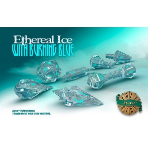 Poly Hero Dice: Ethereal Ice with Burning Blue