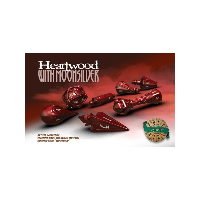 Poly Hero Dice: Heartwood with Moonsilver