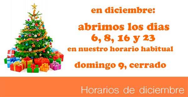 Horarios especiales diciembre